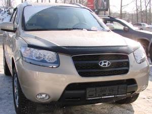 Дефлектор капота Hyundai Santa Fe (Хёндай Санта Фе) (2005-2012) (темный), SHYSAN0512