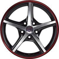 Колесный диск NZ SH667 6x15/4x108 D65.1 ET27 черный полированный с красной полосой по ободу (BKFRS)