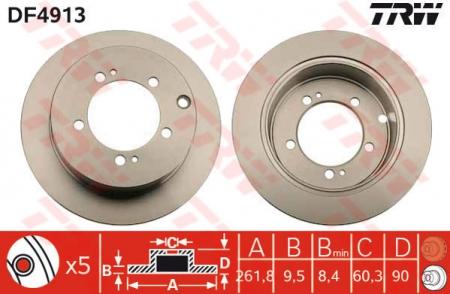Диск тормозной задний, TRW, DF4913