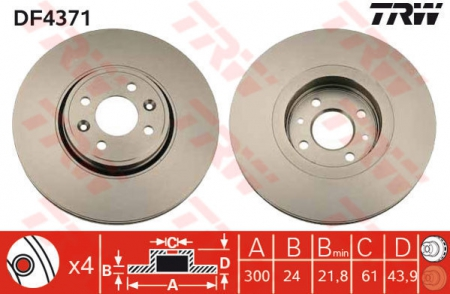 Диск тормозной передний, TRW, DF4371