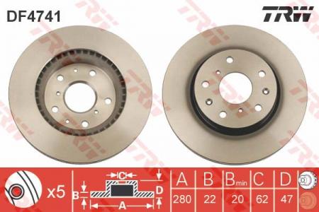Диск тормозной передний, TRW, DF4741