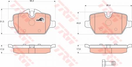 Колодки дисковые Задние, TRW, GDB1612