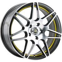 Колесный диск Alcasta M28 5.5x14/4x100 D56.1 ET49 черный полированный с желтой полосой по ободу внут