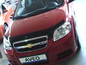 Дефлектор капота Chevrolet Aveo (Шевроле Авео) SD (2003-2011) / ZAZ Vida SD (темный), SCHAVE0312