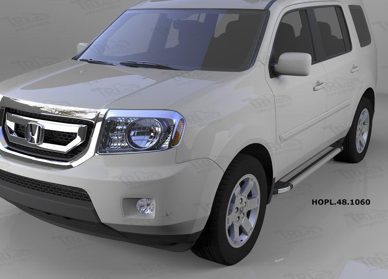 Пороги алюминиевые (Brillant) Honda (Хонда) Pilot (2008-2010/2010-) (серебр), HOPL481060