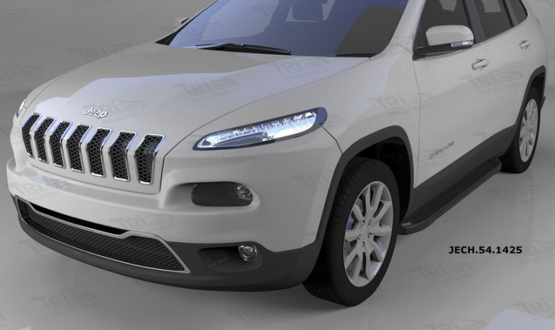 Пороги алюминиевые (Sapphire Black) Jeep Cherokee (2014-), JECH541425