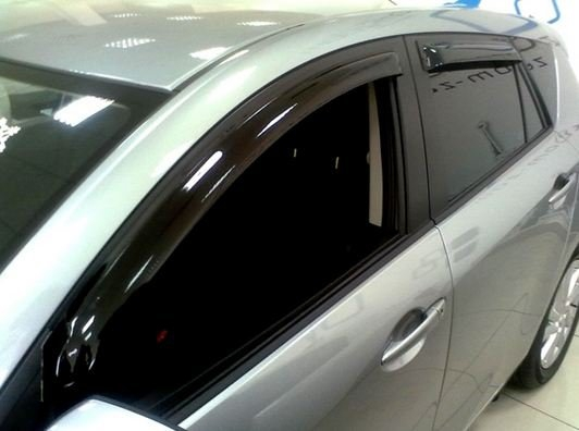 Дефлекторы боковых окон Mazda (Мазда) 3 Хэтчбек (2009-2013) (4 части) (темн.), SMAMA3H0932