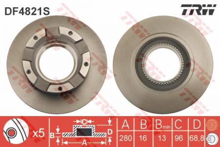 Диск тормозной задний, TRW, DF4821S