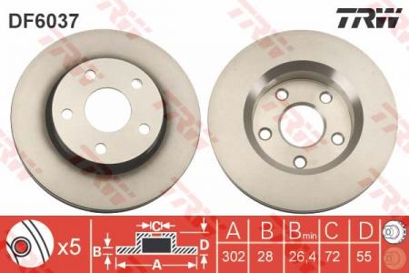 Диск тормозной передний, TRW, DF6037