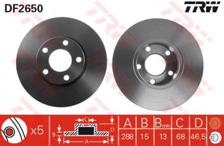 Диск тормозной передний, TRW, DF2650