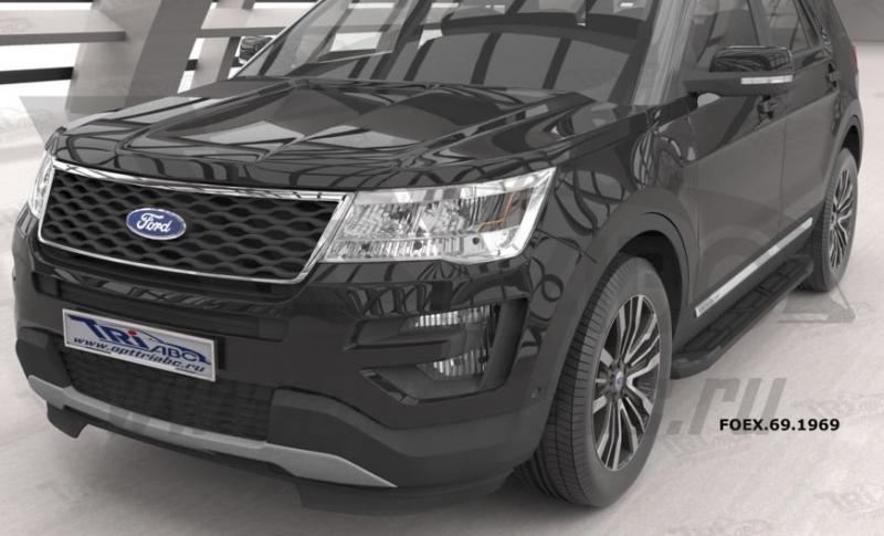 Пороги алюминиевые (Corund Black) Ford Explorer (2011-/ 2015-), FOEX691969