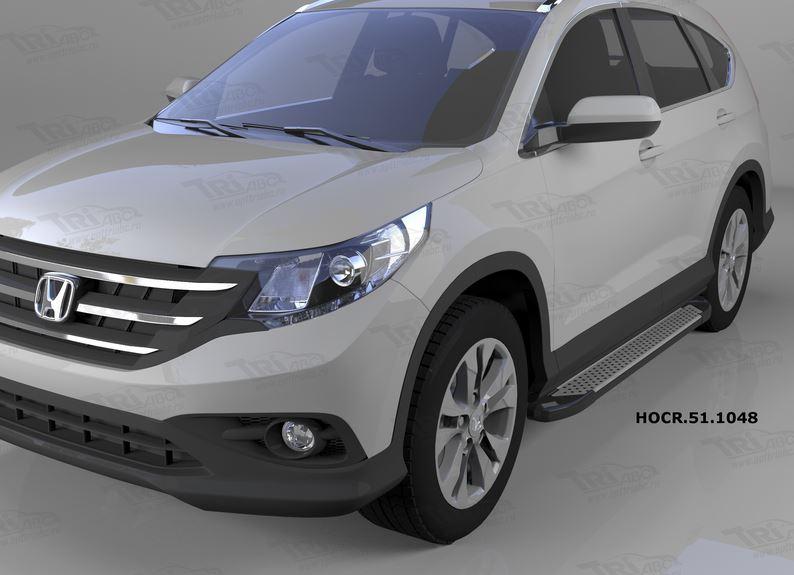 Пороги алюминиевые (Sapphire Silver) Honda (Хонда) CR-V (2012-2014 /2015-), HOCR511048