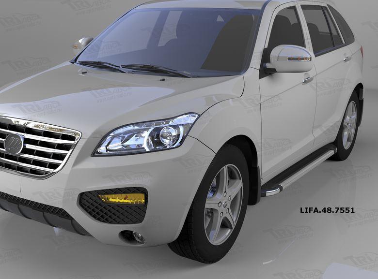Пороги алюминиевые (Brillant) Lifan X60 (2011-) (черн/нерж), LIFA487551