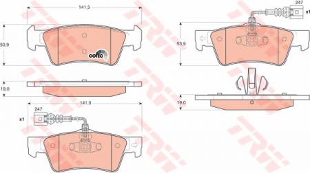 Колодки дисковые Задние, TRW, GDB1672