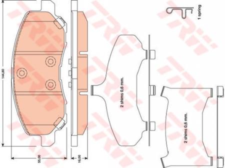Колодки дисковые Передние, TRW, GDB4142