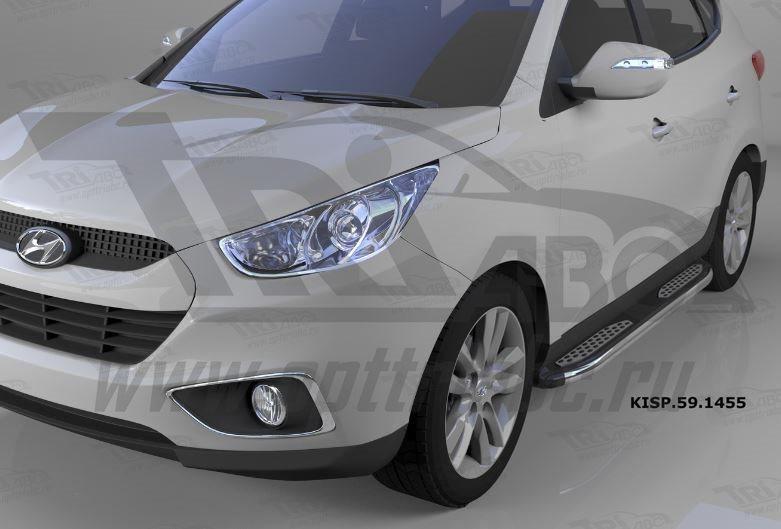 Пороги алюминиевые (Zirkon) Hyundai IX-35 (2009-2015)/ Kia Sportage (Киа Спортаж) III (2010-2016), K