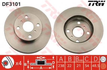Диск тормозной передний, TRW, DF3101