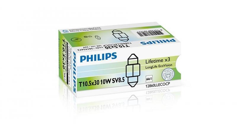 Лампа, 12 В, 10 Вт, C10W, SV8,5, PHILIPS, 12860 LLECOCP