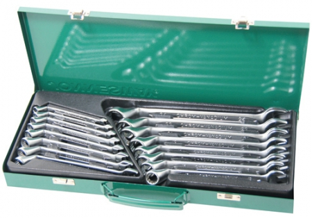 W69116S Набор ключей комбинированных (накидной профиль 75-гранный) 7-24 мм, 16 предметов