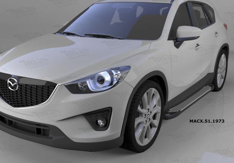 Пороги алюминиевые (Sapphire Silver) Mazda (Мазда) CX5 (2012-2015 /2015-), MACX511973