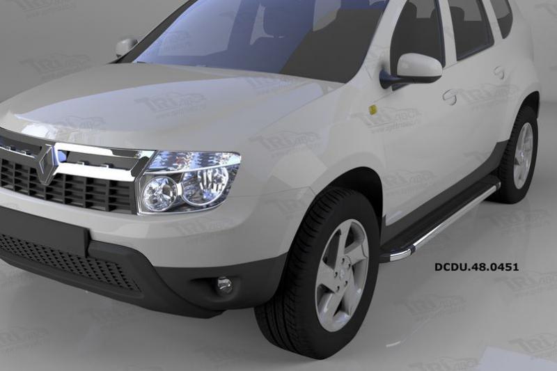 Пороги алюминиевые (Brillant) Renault Duster (Рено Дастер) (2012-) / Nissan Terrano (2014-) (черн/не
