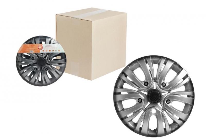 "Колпаки для колес AIRLINE 15""Лион +"" серебристо-чёрный,карбон. 2 шт, AWCC1502"