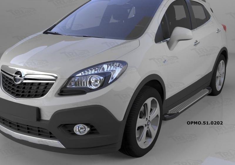 Пороги алюминиевые (Sapphire Silver) Opel Mokka (2012-), OPMO510202
