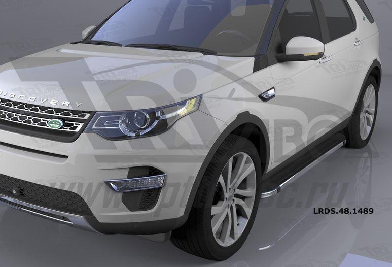 Пороги алюминиевые (Brillant) Land Rover Discovery Sport (2015-) (черн/нерж), LRDS481489