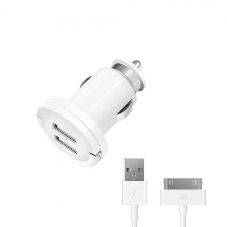 АЗУ 2 USB 2,1А, дата-кабель с разъемом 30-pin для Apple, белый, Ultra, Deppa, 11205