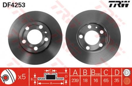 Диск тормозной передний, TRW, DF4253