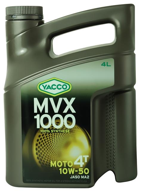 Масло для мотоциклов с 4-тактным двигателем YACCO MVX 1000 4T синт. 10W50, SL (4 л)