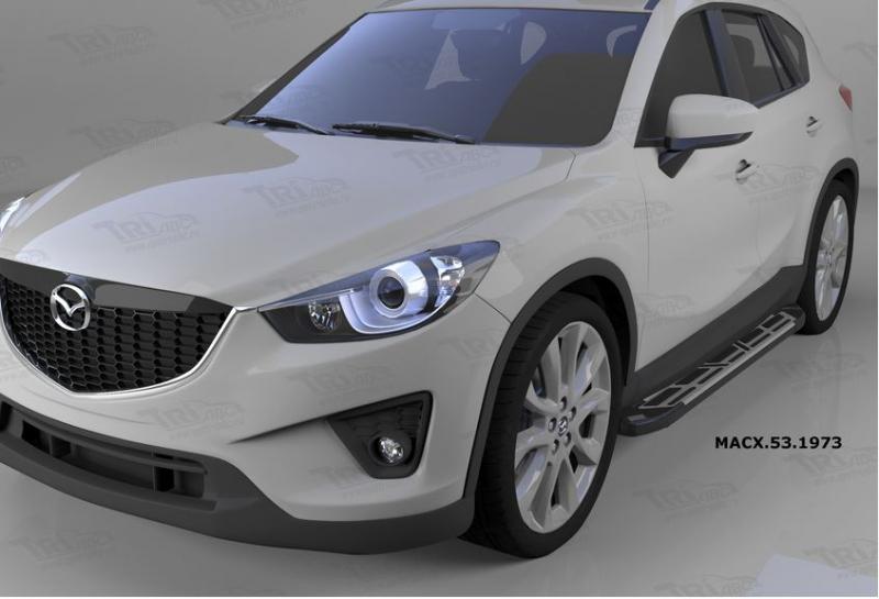 Пороги алюминиевые (Corund Silver) Mazda (Мазда) CX5 (2012-2015 /2015-), MACX531973