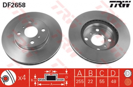 Диск тормозной передний, TRW, DF2658