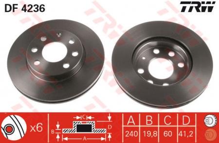 Диск тормозной передний, TRW, DF4236