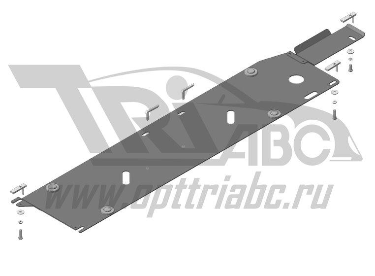 Защита стальная 3 мм топливных трубок Nissan X-Trail с 2015 г, MOTODOR11412