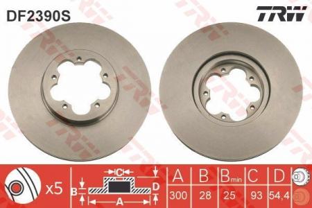 Диск тормозной передний, TRW, DF2390S