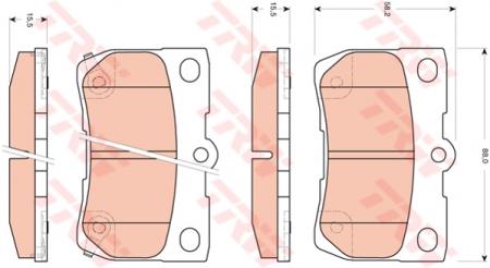 Колодки дисковые Задние, TRW, GDB3399