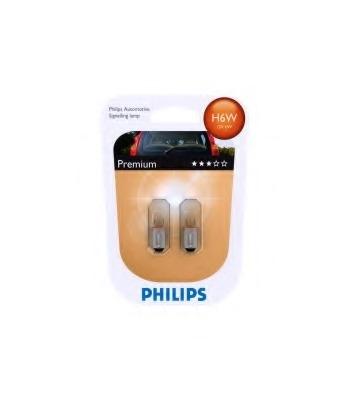 """Лампа """"Premium"""", 12 В, 6 Вт, H6W, BAX9s, PHILIPS, 12036 B2"""