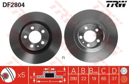 Диск тормозной передний, TRW, DF2804