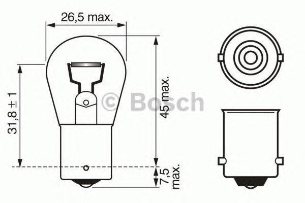 Лампа Longlife Daytime, 12 В, 21 Вт, P21W, BA15s, BOSCH, 1 987 302 280