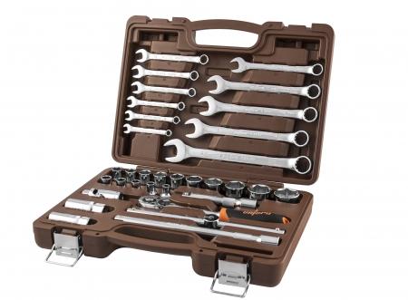"""OMT33S Универсальный набор инструмента торцевые головки 1/2""""DR, 8-32 мм и аксессуары к ним, комбинированные ключи 8-22 мм, 33 предмета"""