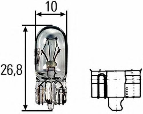 Лампа, 24 В, 2 Вт, W2,1x9.5d, HELLA, 8GA 008 901-241