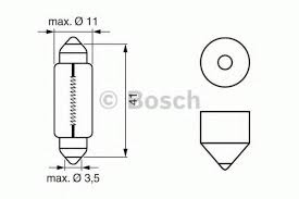 Лампа, 12 В, 100 Вт, H1, P14,5s, BOSCH, 1 987 301 091