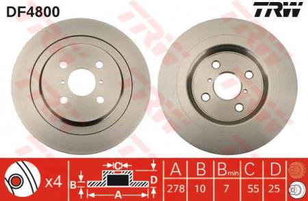 Диск тормозной задний, TRW, DF4800