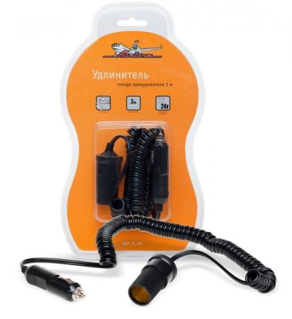 Прикуриватель-удлинитель с витым шнуром 3м 5А 60Вт 12B/24В, AIRLINE, ASP3L06