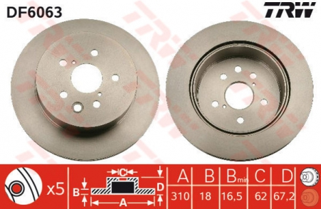 Диск тормозной задний, TRW, DF6063