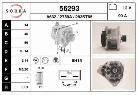 SOR56293_генератор! 90A\\ VW Passat/Golf III/IV/T4 1.4-2.5/1.9TD/2.4D 90>