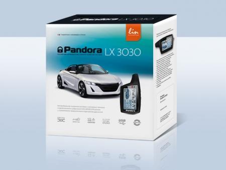 Pandora LX 3030 (2014.06, ориентация - аналоговые автомобили АВТОВАЗ, Рено, Китайцы; LIN,  моторный CAN, 2 сил.реле, брелок 074 LCD - AAA, брелок R304L — CR2032), встр.датчик движ., без а/з, б/c