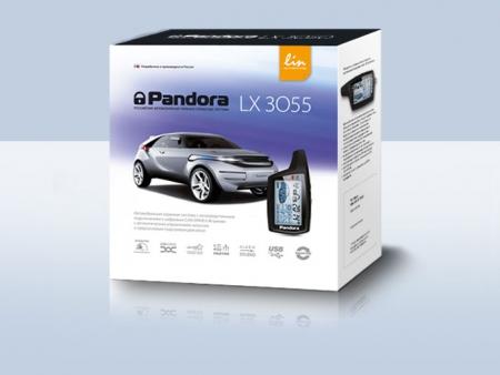 Pandora LX 3055 (2014.04,  LIN,  CAN, 8 сил.реле, брелок 074 LCD - AAA, брелок R304L — CR2032), встр.датчик движ., б/c, с автозапуском без доп. модулей (безключевых обходчиков и ключей) по списку