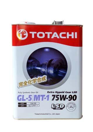 Трансмиссионное масло TOTACHI Extra Hypoid Gear LSD Fully Syn GL-5/MT-1 SAE 75W-90 (4л)